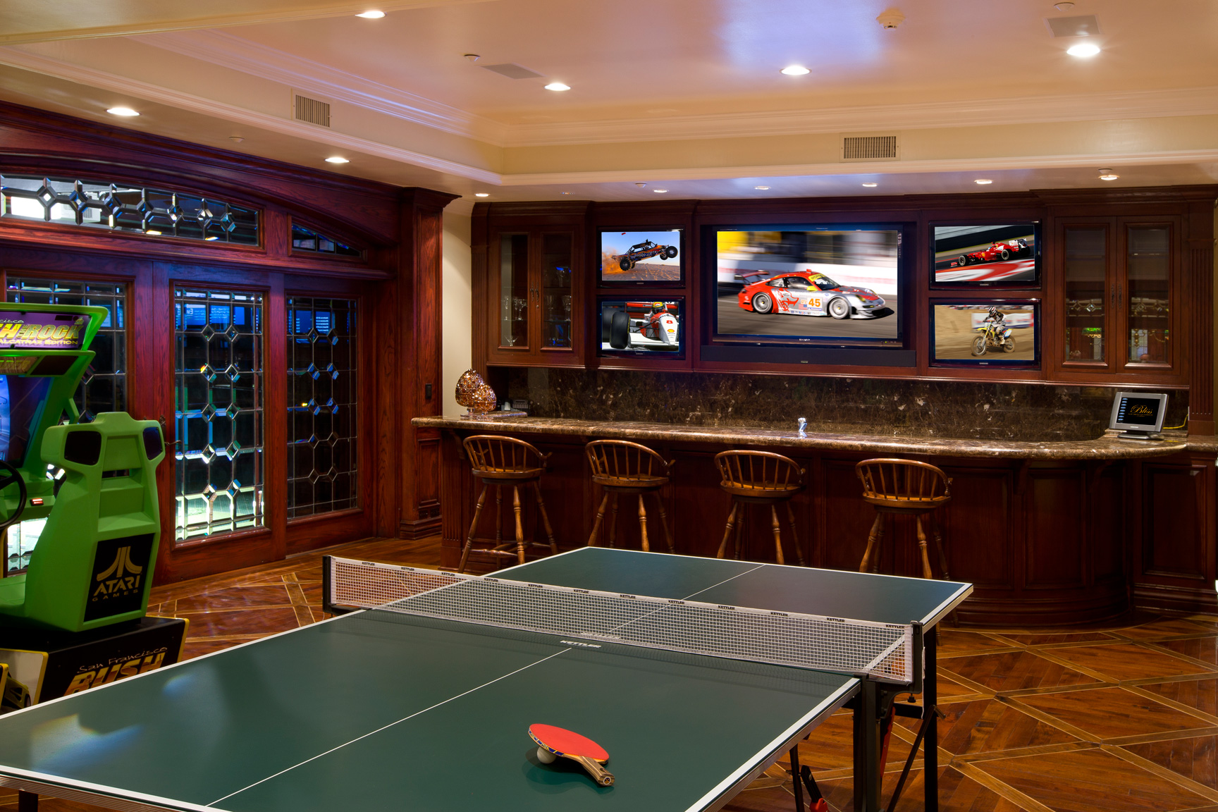 single car garage man cave ideas - Sports & Game Rooms